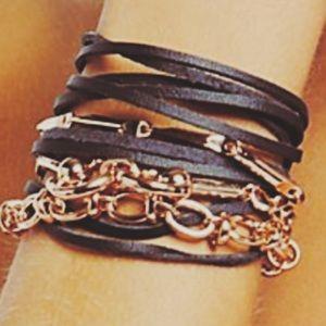 Free People Horsebit Layered Leather Bracelet